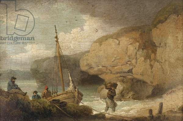 Fishermen Unloading a Boat in a Rocky Inlet