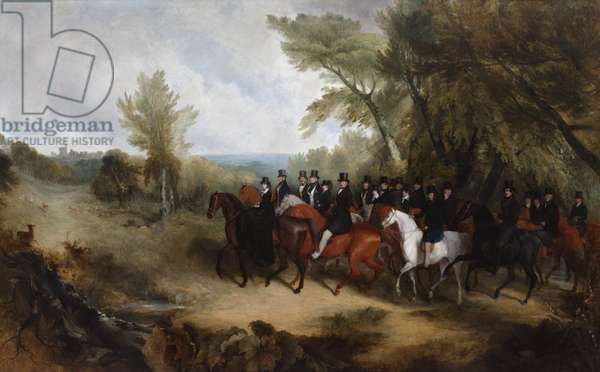 Queen Victoria and her suite riding out in Windsor Great Park, 1839 (oil on canvas)