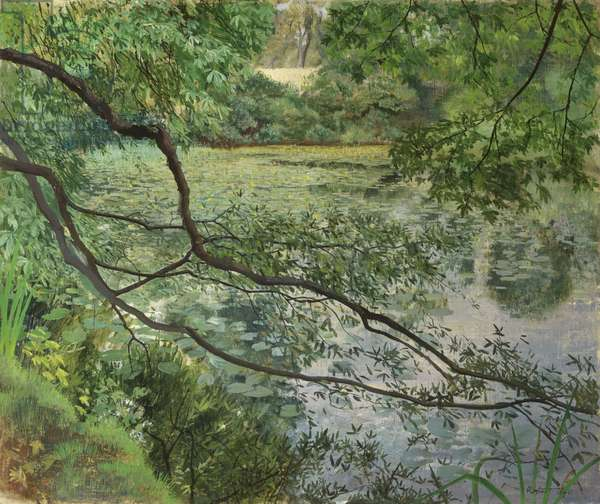 Mrs Barclay's Pond, Harborne (oil on canvas)