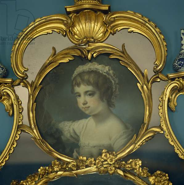 Gilt overmantel with a portrait thought to be of Sarah Anne Child (1763-93)