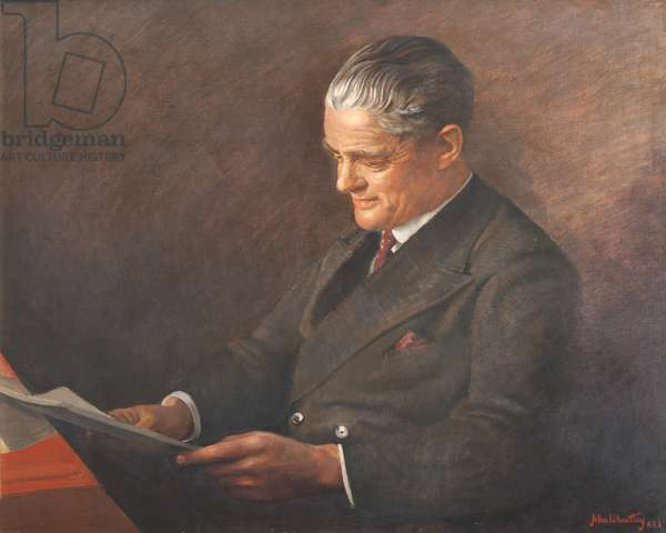William Richard Morris, 1st Viscount Nuffield in a brown suit reading a book. 1949-50 (oil on canvas)