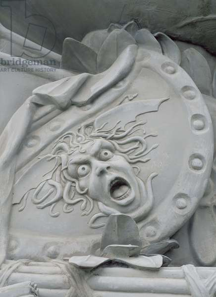 The head of Medusa on the back of the statue of Fame and Pegasus, c.1705 (marble)