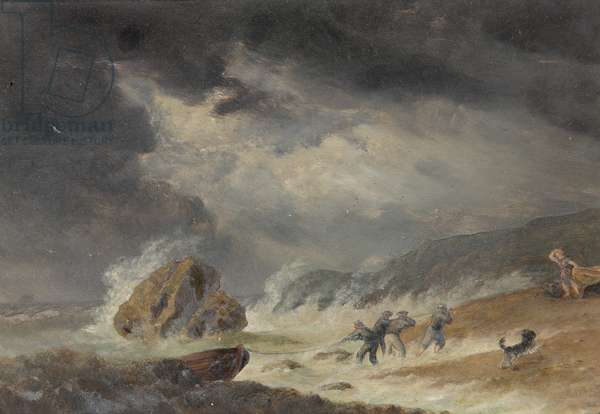 Stormy Seascape (oil on canvas)