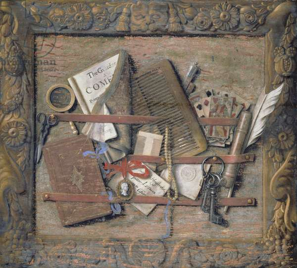Trompe l'oeil of a Framed Necessary-board (oil on board)