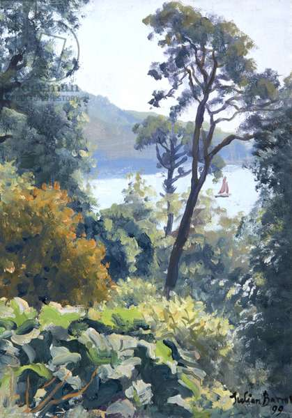 The River Dart from Greenway, 1999 (oil on canvas)
