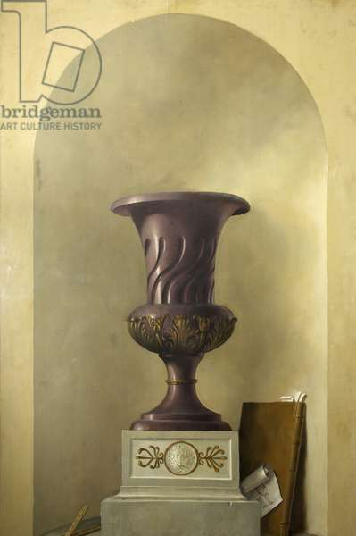 Trompe l'oeil (Urn) (oil on canvas laid down on panel)