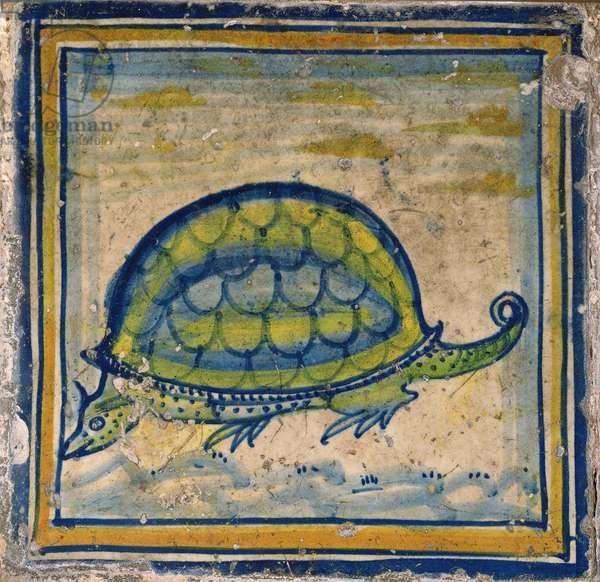 Encaustic tile depicting an armadillo from the Tudor Chapel (ceramic)