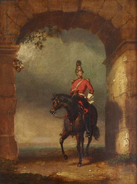 An Officer of the Dragoon Guards mounted on his Charger beneath an Arch