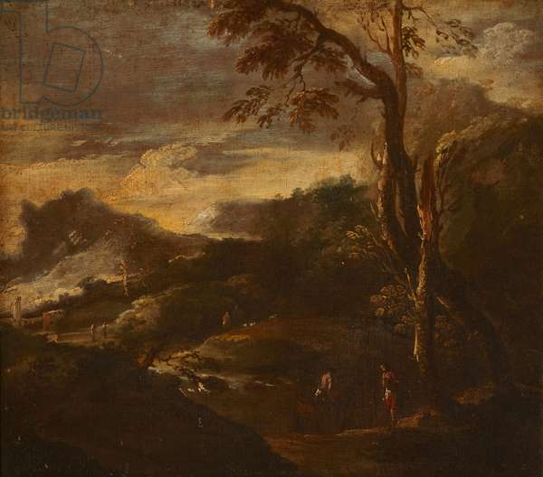 A mountainous river landscape with figures (oil on canvas)