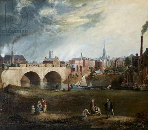 The 'Rocket' (Liverpool and Manchester Railway Train) crossing the bridge over the River Irwell, c.1840 (oil on canvas)
