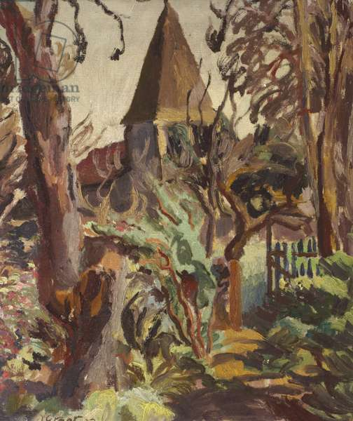 Monk's House Garden and St Peter's Church, Rodmell, 1923 (oil on canvas)