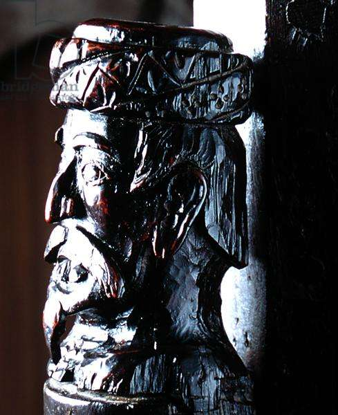 Detail of the Jacobean staircase showing a Saracen's Head (carved wood)