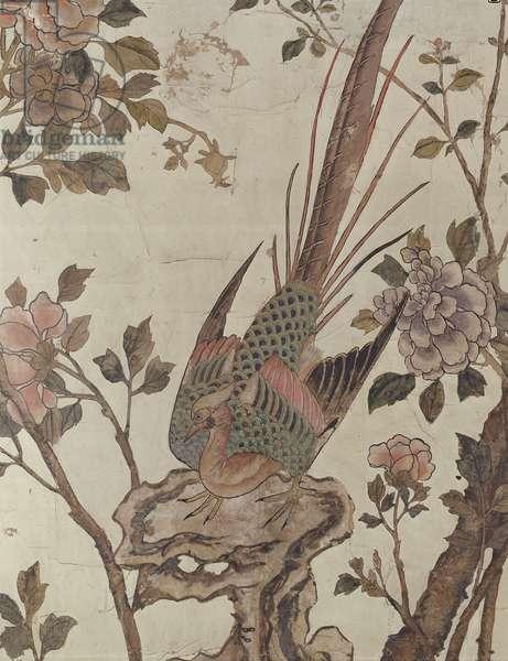A bird resting on a rock (hand painted wallpaper)