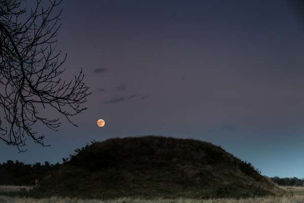 Full moon rising over the mound at Sutton Hoo, Suffolk (photo)