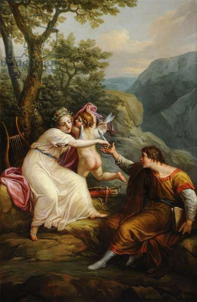 Sappho giving Anacreon a Feather from Cupid's Wing