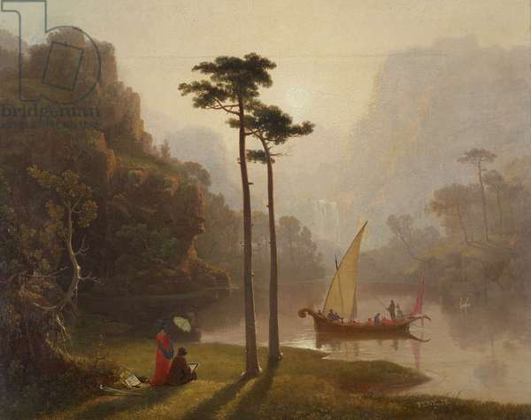 Lake Scene with Boat and Figures