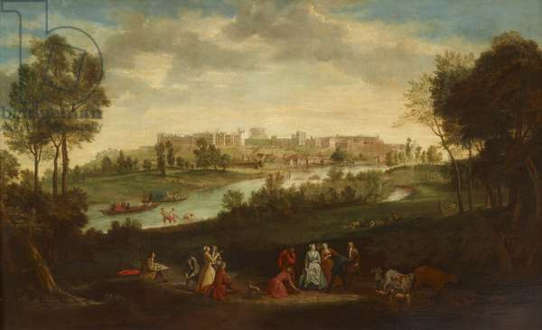 View of Windsor Castle, with desporting figures and cattle in the foreground