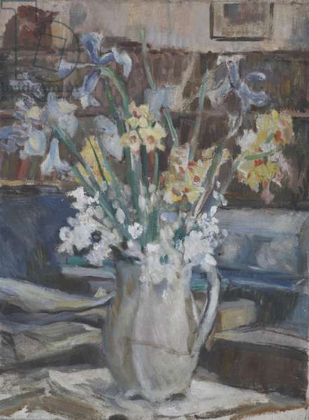 A Vase of Daffodils and Blue Irises (oil on board)