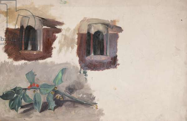 Still Life of Holly and Cups (from a Portfolio of oil sketches), c.1913 (oil on millboard)