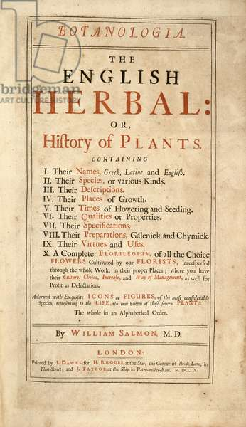 Title page of 'The English Herbal: or History of Plants' by William Salmon, published by I. Dawks, 1710 (engraving)