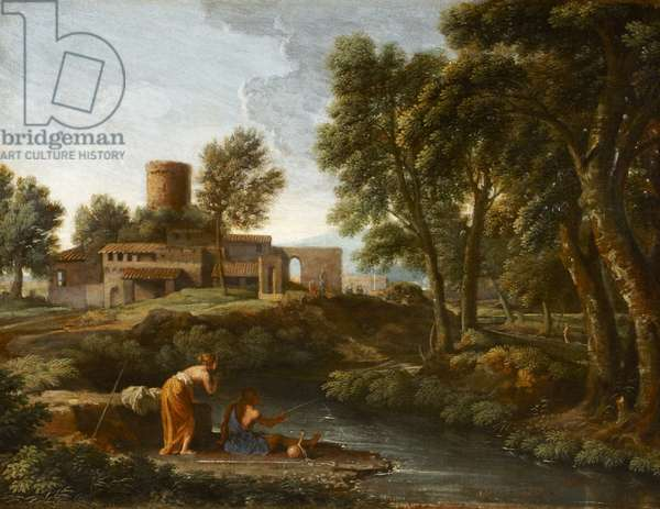 Landscape with a Man Fishing (oil on canvas)