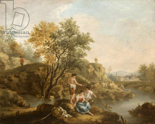 Landscape with Figures in the foreground and a Man Fishing