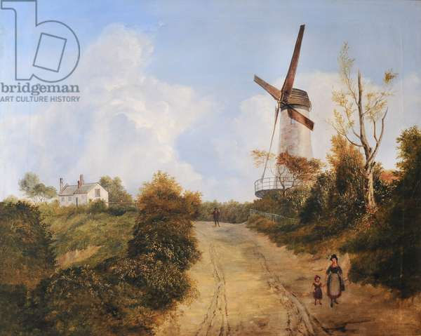 Figures on a Path by a Windmill