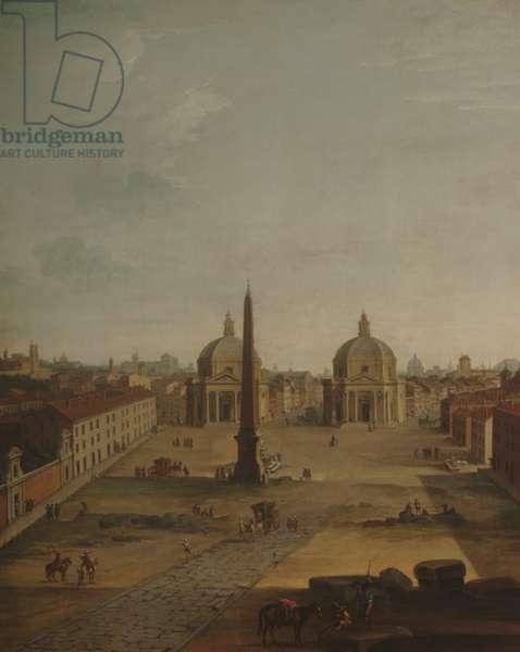 The Piazza del Popolo, Rome, Italy (oil on canvas)