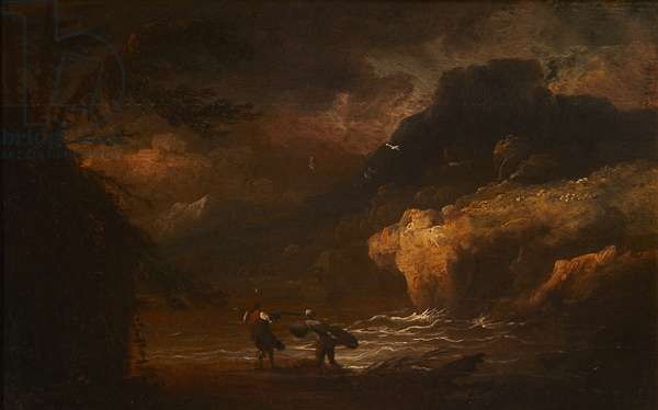 A coastal landscape with fishermen in a storm (oil on panel)