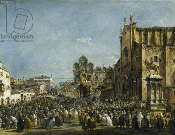 Pope Pius VI Blessing the People of Venice in the Campo San Zanipolo in 1782 (oil on canvas)