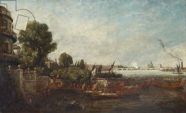 Embarkation of George IV from Whitehall: the Opening of Waterloo Bridge, 1817
