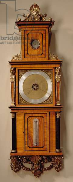 A wheel barometer by Justin Vulliamy in a case made by Thomas Chippendale, in the North Staircase, 1768 (brass and tulip wood)