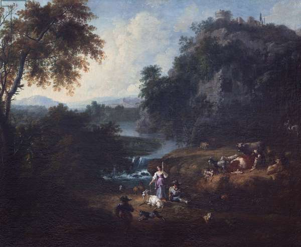 Classical Landscape with Herd-folk by a Stream