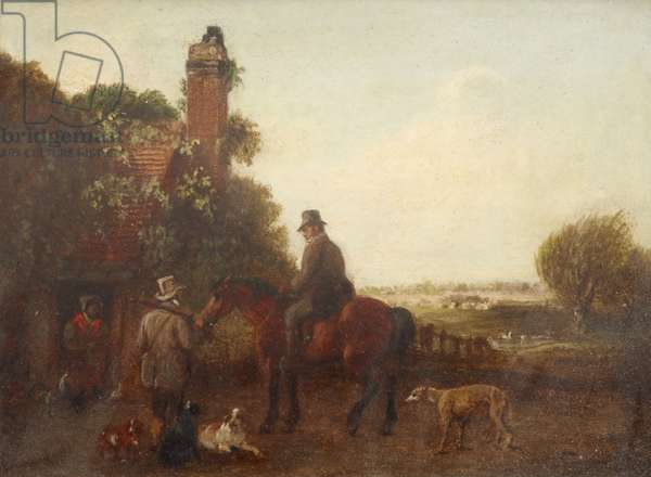 Two Sportsmen, one of them Mounted, with Dogs, outside a Cottage