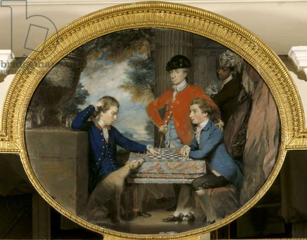 Group of Men Playing Chess (oil on canvas)