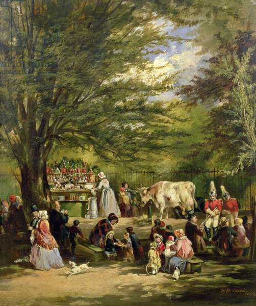 The Milk Stall at the North End of the Tilt Yard, St James' Park, 1852 (oil on canvas)