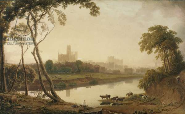 Durham Cathedral and Town' (w/c on paper)