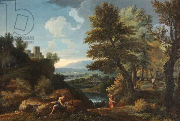 Landscape with Travellers and a Distant River Valley (oil on canvas)