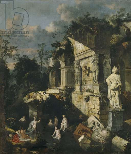 Classical ruins with Diana and Nymphs bathing (oil on canvas)