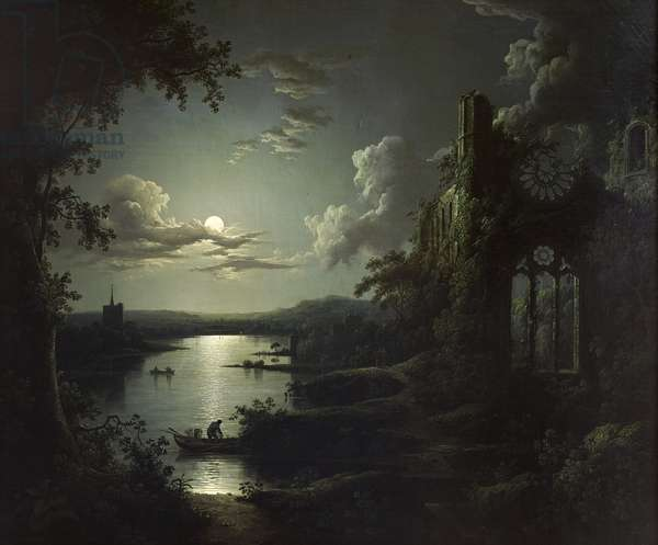 Moonlit Lake with a Ruined Gothic Church, a Church and Boatmen