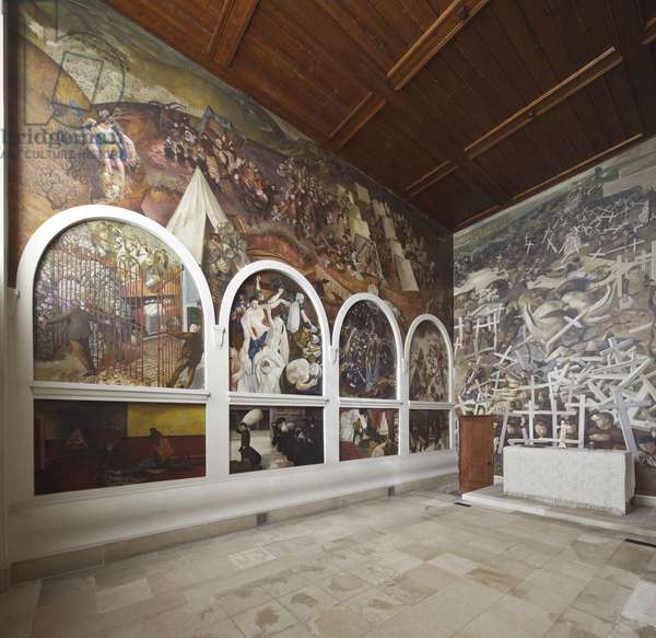 The north wall paintings, and altar and east wall with The Resurrection of the Soldiers, 1928-29 (oil on canvas)