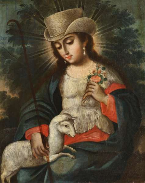 Saint Rose of Lima (1586-1618) with a Lamb