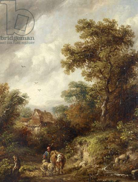 A Country Lane with Herdsman, Cow and Sheep