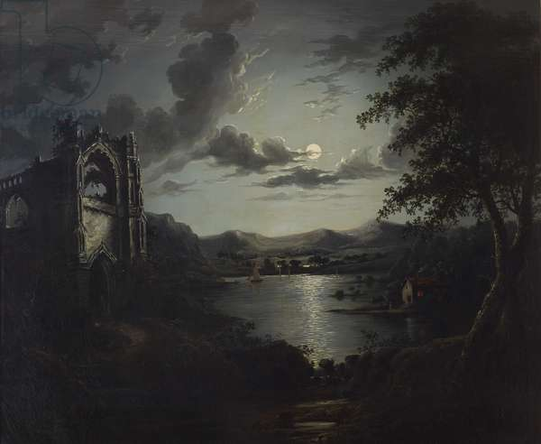Moonlit Lake, with a Ruined Abbey and a Cottage with an illuminated Window