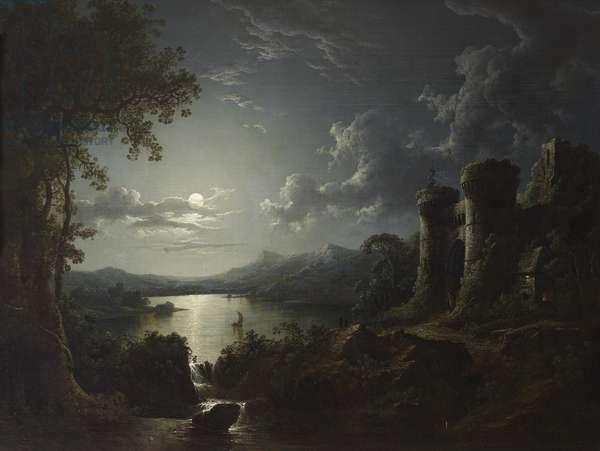 Moonlit River Landscape with a Monumental Gateway