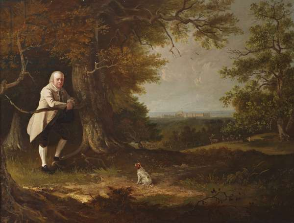 John Carbonell (1760-1837) in the Grounds of his House at Windsor (around a figure by Zoffany)