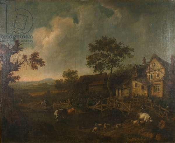 Landscape with a cottage and a wooden bridge (oil on canvas)