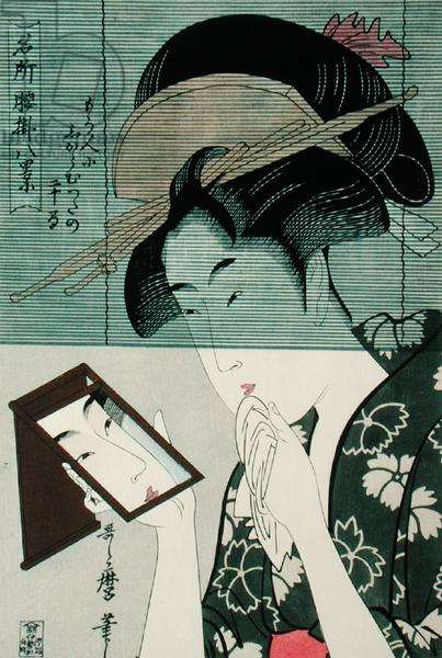 Woman with a Mirror, 19th-20th century reprint (woodblock print)