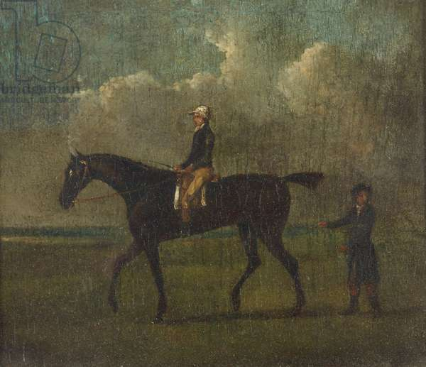 A Racehorse with Jockey up and Attendant