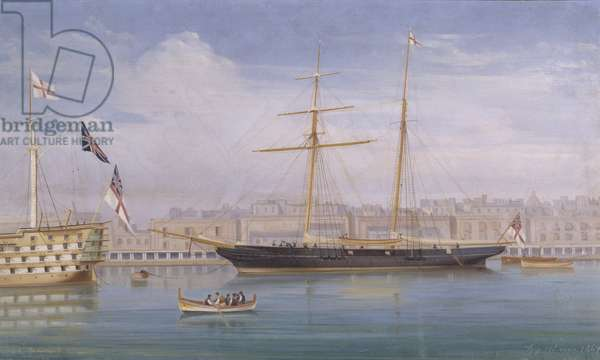 The Chichester's Yacht 'Erminia' moored at Malta 1869 (oil on canvas)